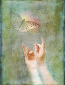 Hands Reaching Up for Glowing Butterfly — Stock Photo