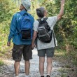 Happy Mature Couple Hiking on Nature Trail Holding Hands — Stock Photo