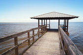 Rustic Wooden Fishing and Swimming Pier — Stock Photo
