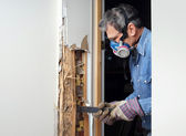 Man removing termite damaged wood from wall — Stock Photo