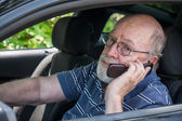 Hot, Sweaty Senior Man Calls for Roadside Assistance — Stock Photo