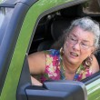 Angry Senior Woman Driver with Road Rage — Stock Photo