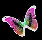 Motyl nocny, latający na białym tle na czarnym tle — Zdjęcie stockowe