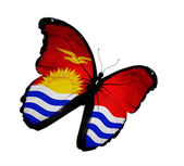 Kiribati flag butterfly flying, isolated on white background — Stock Photo