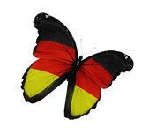 德国国旗蝴蝶飞,孤立在白色背景 — 图库照片