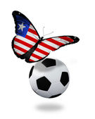 Concept - butterfly with Liberia flag flying near the ball, like — Stock Photo