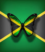 Jamaica flag butterfly, isolated on flag background — Stock Photo