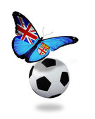 Concept - butterfly with Fiji flag flying near the ball, like fo — Foto Stock