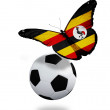 Concept - butterfly with Uganda flag flying near the ball, like — Stock Photo
