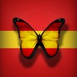 Spanish flag butterfly, isolated on flag background — Stock Photo #18497895