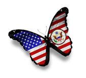 Borboleta de bandeira americana, com o brasão de armas, isolado no branco — Foto Stock