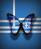 Greek flag butterfly with coat of arms, isolated on flag background — Stock Photo