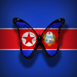 North Korea with coat of arms flag butterfly, isolated on flag background — Stock Photo #20908169