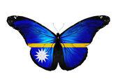 Borboleta de bandeira de Nauru voando, isolado no fundo branco — Fotografia Stock