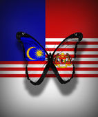 Arka plan bayrak izole malezya bayrağı kelebek — Stok fotoğraf