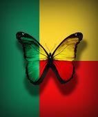 Benin fahne schmetterling, isoliert auf flagge hintergrund — Stockfoto