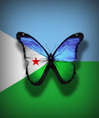Djibouti flag butterfly, isolated on flag background — Stock Photo