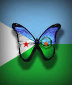 Djibouti flag butterfly with coat of arms, isolated on flag background — Stock Photo