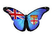 フィジー フラグ蝶の飛行に孤立した白い背景 — ストック写真