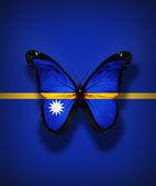 Motyl flaga nauru, na białym tle flaga — Zdjęcie stockowe