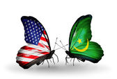 Two butterflies with flags on wings as symbol of relations USA and Mauritania — Stock Photo