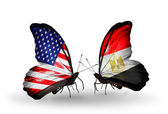 Two butterflies with flags on wings as symbol of relations USA and Egypt — Stok fotoğraf