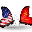 Two butterflies with flags on wings as symbol of relations USA and Soviet Union — Stock Photo #29967871