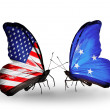 Two butterflies with flags on wings as symbol of relations USand Micronesia — Stock Photo #29967965