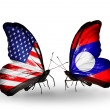 Stock Photo: Two butterflies with flags on wings as symbol of relations USand Laos