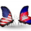 Stock Photo: Two butterflies with flags on wings as symbol of relations USand Cambodia