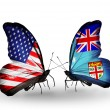 Two butterflies with flags on wings as symbol of relations USand Fiji — Stock Photo #29968041