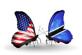 Two butterflies with flags on wings as symbol of relations USA and Botswana — Stock Photo