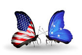 Two butterflies with flags on wings as symbol of relations USA and Micronesia — Stock Photo
