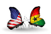 Two butterflies with flags on wings as symbol of relations USA and Ghana — Stock Photo