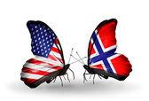 Dos mariposas con banderas en las alas como símbolo de las relaciones estados unidos y noruega — Foto de Stock