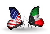 Two butterflies with flags on wings as symbol of relations USA and Kuwait — Stock Photo