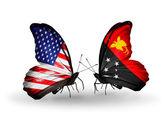 Dos mariposas con banderas en las alas como símbolo de las relaciones estados unidos y papúa nueva guinea — Foto de Stock