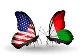Two butterflies with flags on wings as symbol of relations USA and Madagascar — Stock Photo