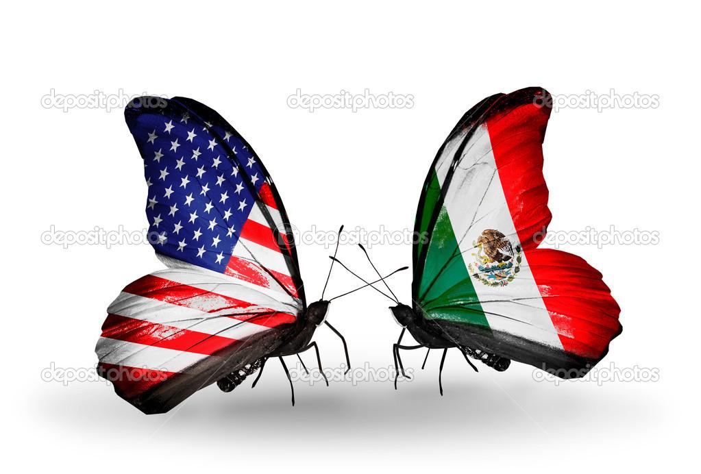 Mexico y Estados Unidos Banderas Estados Unidos y México