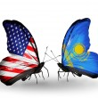 Two butterflies with flags on wings as symbol of relations USA and Kazakhstan — Stock Photo #30622383