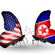 Two butterflies with flags on wings as symbol of relations USA and North Korea — Stock fotografie