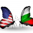 Two butterflies with flags on wings as symbol of relations USA and Bulgaria — Stockfoto