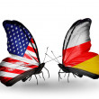 Two butterflies with flags on wings as symbol of relations USA and South Ossetia — Stock Photo