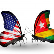 Two butterflies with flags on wings as symbol of relations USA and Togo — Stok fotoğraf