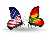 Two butterflies with flags on wings as symbol of relations USA and Grenada — Stock Photo
