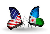 Two butterflies with flags on wings as symbol of relations USA and Djibouti — Stock Photo
