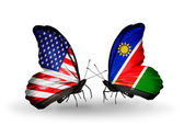 Two butterflies with flags on wings as symbol of relations USA and Namibia — Stock Photo