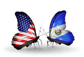 Two butterflies with flags on wings as symbol of relations USA and Salvador — Stock Photo