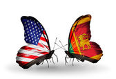 Two butterflies with flags on wings as symbol of relations USA and Sri Lanka — Stock Photo
