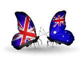 Dwa motyle z flagami na skrzydłach jako symbol stosunków, wielkiej brytanii i australii — Zdjęcie stockowe